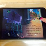 Tactile overlay being used with the Toy Story Read-a-loud app. The tactile cue indicates where to press on the screen.