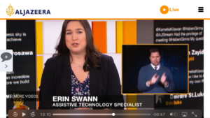 erin swann, assistive technology specialist, speaking during a broadcast of al jazeera english's show, the stream