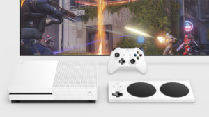 Picture of XBOX system and game on screen.