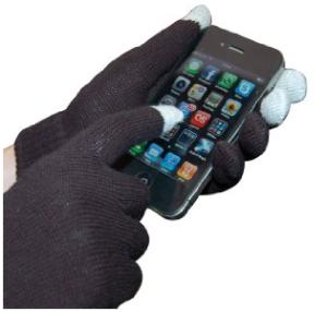 Hands in black gloves holding smart phone.