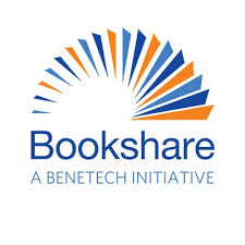Bookshare logo semicircle of blue and orange pages flipping on a book