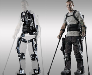 Picture of empty exoskeleton brace and man standing in exoskeleton brace.