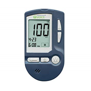 close up of Prodigy Talking glucometer