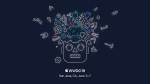 WWDC19 logo of robot head with parts flying out. Black background