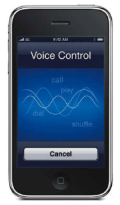Close up of iphone with Voice Control on screen.