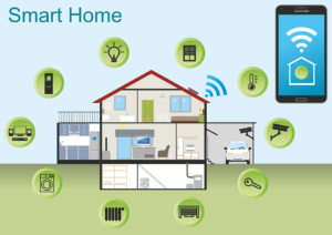 Graphic showing house in center with bubbles around it containing lightbulb, lock, key, computer, temp gauge.