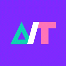 ATHack logo with purple background. Green triangle, white slash, pick T.