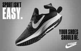 Black and white ad for Nike sneaker.  Ad features close up of shoe.