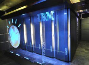 Blue-lit wall of IBM Watson