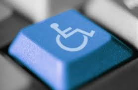 Close up of blue key on keyboard with disability logo on it