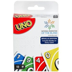 Close up picture of UNO packaging that has NFB logo in upper right corner.