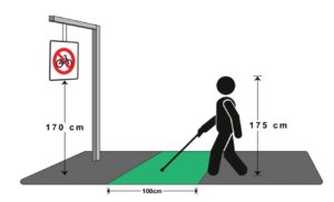 Drawing of Man holding cane, with dimensions outlined of his height (175cm), distance in front of him (100 cm) and height to object in front (170 cm)
