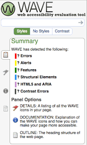screenshot of wave app with summary page showing errors, alerts, features, structural elements all color coded