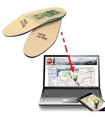Two shoe inserts with red arrow pointing to computer screen. Screen has map opened.