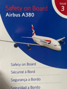 close up of Airbus A380 Plane safety cardwith