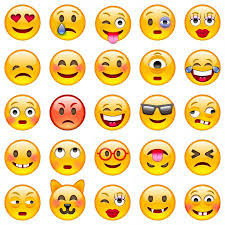 20 different emojis of yellow circle faces with emotiions
