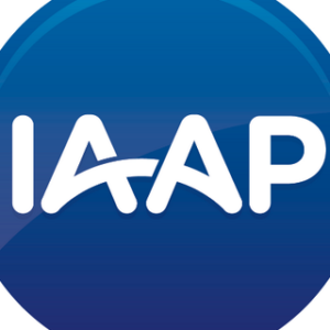 "Blue background white letters ""IAAP"""